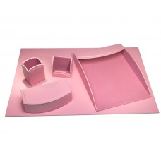 Dacasso Colors Faux Leather 5pc Office Organizing Desk Set – Cameo Pink