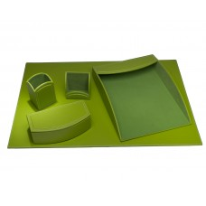Dacasso Colors Faux Leather 5pc Office Organizing Desk Set – Lime Green