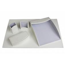 Dacasso Colors Faux Leather 5pc Office Organizing Desk Set – Daisy White