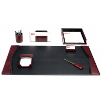 Burgundy Contemporary Leather 7-Piece Desk Set