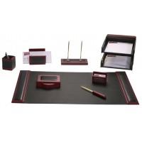 Rosewood & Leather 10-Piece Desk Set