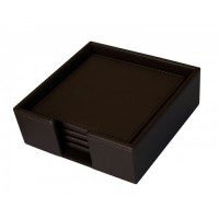 Dacasso Colors Faux Leather 4 Coaster Set with Holder – Espresso Brown