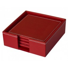 Dacasso Colors Faux Leather 4 Coaster Set with Holder – Rossa Red