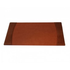 Protacini Cognac Brown Italian Patent Leather 34 x 20 Side-Rail Desk Pad
